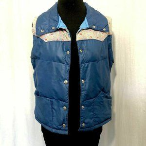 1970 Puffy Vest  Blue Down With Flowers Snaps Up
